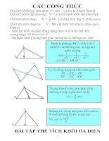Công thức toán hình học lớp 12