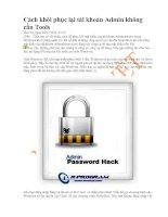 Cách khôi phục lại tài khoản Admin không cần Tools