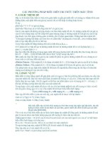 CÁC PHƯƠNG PHÁP BIỄU DIỄN TRI THỨC TRÊN MÁY TÍNH