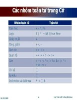 Các nhóm toán tử trong C#
