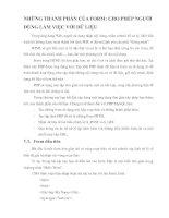 NHỮNG THÀNH PHẦN CỦA FORM- CHO PHÉP NGƯỜI DÙNG LÀM VIỆC VỚI DỮ LIỆU