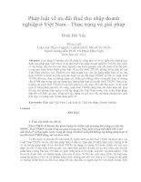 Pháp luật về ưu đãi thuế thu nhập doanh  nghiệp ở Việt Nam - Thực trạng và giải pháp