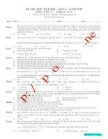ĐỀ THI THỬ ĐẠI HỌC SỐ 14 NĂM 2012 MÔN VẬT LÝ KHỐI A, A1, V