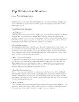 Top 10 Interview Blunders