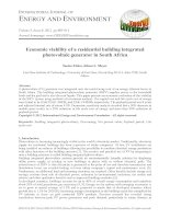 Economic viability of a residential building integrated photovoltaic generator in South Africa