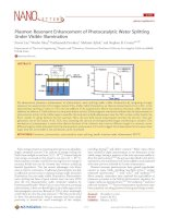 Plasmon Resonant Enhancement of Photocatalytic Water Splitting Under Visible Illumination