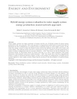Hybrid energy system evaluation in water supply system energy production: neural network approach