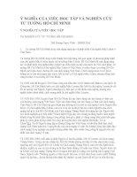 Ý NGHĨA CỦA VIỆC HỌC TẬP VÀ NGHIÊN CỨU TƯ TƯỞNG HỒ CHÍ MINH