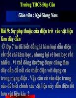 Tiet 9- Su phu thuoc cua dien tro vao vat lieu lam day dan.ppt