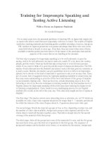 Training for Impromptu Speaking and Testing Active Listening