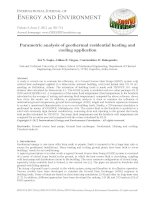 Parametric analysis of geothermal residential heating and cooling application