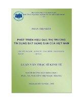 19 Phát triển hiệu quả thị trường tín dụng Bất động sản của Việt Nam