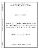 431 Một số giải pháp nhằm nâng cao hiệu quả cổ phần hoá Ngân hàng thương mại cổ phần hoá ở Việt Nam