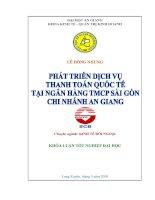 Phát triển dịch vụ thanh toán quốc tế tại ngân hàng TMCP Sài Gòn chi nhánh An Giang