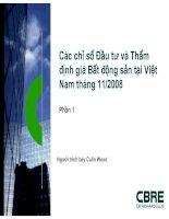 Các chỉ số Đầu tư và Thẩm định giá Bất động sản tại Việt Nam tháng 11/2008