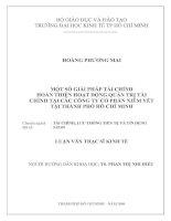 MỘT SỐ GIẢI PHÁP TÀI CHÍNH  HOÀN THIỆN HOẠT ĐỘNG QUẢN TRỊ TÀI  CHÍNH TẠI CÁC CÔNG TY CỔPHẦN NIÊM YẾT  TẠI THÀNH PHỐ HỒ CHÍ MINH