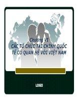 Bài giảng Tài chính quốc tế - Chương 6 các tổ chức tài chính quốc tế tại Việt Nam