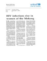 HIV infections rise in women of the Mekong