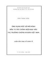 7 Ứng dụng một số mô hình đầu tư tài chính hiện đại vào thị trường chứng khoán Việt Nam