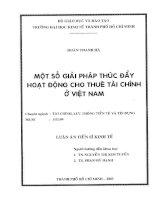 67 Một số giải pháp thúc đẩy hoạt động cho thuê tài chính ở Việt Nam