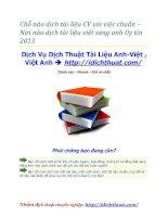 Chỗ nào dịch tài liệu CV xin việc chuẩn