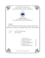 Phân tích đánh giá kết quả & hiệu quả kinh doanh của công ty cổ phần thủy sản Việt Thắng