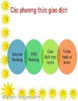 Các phương thức giao dịch Internet banking, sms banking, giao dịch trực tuyến, vietinbank at home