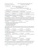 Đề kiểm  tra học kì 1: 2011-2012 môn hóa học- lớp 12