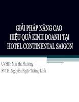 GIẢI PHÁP NÂNG CAO HIỆU QUẢ KINH DOANH TẠI HOTEL CONTINENTAL