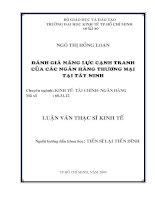 117 Đánh giá năng lực cạnh tranh của các Ngân hàng thương mại tại Tây Ninh