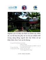 Nghiên cứu về  tiếp cận Dịch vụ  Chăm sóc, Điều  trị, và Hỗ  trợ  cho phụ  nữ  và trẻ  em nhiễm HIV  trong cộng đồng ngƣời dân tộc thiểu số  tại  Điện biên, Kon Tum và An Giang