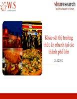 W&S - Khảo sát thị trường thức ăn nhanh tại các thành phố lớn - 12_2012 - Viet