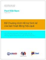 Pact Việt Nam: Để chương trình hỗ trợ sinh kế của bạn hoạt động hiệu quả