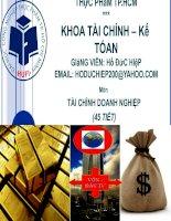 Chuyen de 4- CAC CHI SO TAI CHINH VA DON CAN TAI CHINH TRONG PHAN TICH DN