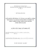 280 Giải pháp mở rộng và nâng cao chất lượng tín dụng tại Ngân hàng Nông Nghiệp & Phát Triển Nông Thôn chi nhánh tỉnh Tiền Giang
