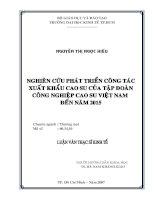 Luận văn về nghiên cứu phát triển công tác XK cao su Việt Nam đến năm 2015