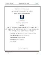 MỘT SỐ GIẢI PHÁP GÓP PHẦN NÂNG CAO HIỆU QUẢ CÔNG TÁC TUYỂN DỤNG NHÂN SỰ TẠI CÔNG TY CỔ PHẦN TƯ VẤN &XÂY DỰNG CÔNG TRÌNH NAM LONG