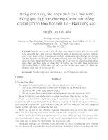 Nâng Cao Năng Lực Nhận Thức Của Học Sinh Thông Qua Dạy Học Chương Crom, Sắt, Đồng Chương Trình Hóa Học Lớp 12- Ban Nâng Cao