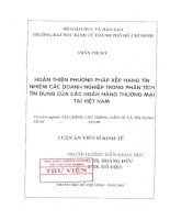 104 Hoàn thiện phương pháp xếp hạng tín nhiệm các doanh nghiệp trong phân tích tín dụng của các Ngân hàng thương mại tại Việt Nam