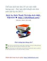 Chỗ nào dịch tài liệu CV xin việc chất lượng cao