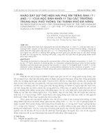 KHẢO SÁT SỰ THỂ HIỆN HAI PHỤ ÂM TIẾNG ANH / T / AND / T / CỦA HỌC SINH KHỐI 11 TẠI CÁC TRƯỜNG TRUNG HỌC PHỔ THÔNG TẠI THÀNH PHỐ ĐÀ NẴNG