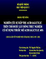 Nghiên cứu sự hấp thụ Acid Salicylic trên thỏ được gây bỏng thực nghiệm có sử dụng thuốc mỡ Acid Salicylic 40%
