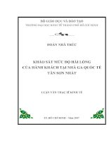 KHẢO SÁT MỨC ĐỘ HÀI LÒNG  CỦA HÀNH KHÁCH TẠI NHÀ GA QUỐC TẾ TÂN SƠN NHẤT