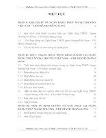 THỰC TRẠNG HOẠT ĐỘNG KINH DOANH TẠI NGÂN HÀNG TMCP NGOẠI THƯƠNG VIỆT NAM  - CHI NHÁNH THĂNG LONG