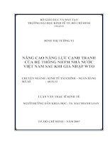 Nâng cao năng lực cạnh tranh của hệ thống NHTM NN Việt Nam sau khi gia nhập WTO