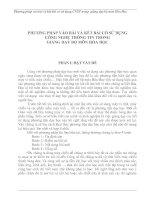 PHƯƠNG PHÁP VÀO BÀI VÀ KẾT BÀI CÓ SỬ DỤNG  CÔNG NGHỆ THÔNG TIN TRONG  GIẢNG DẠY BỘ MÔN HÓA HỌC