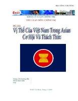 VỊ THẾ CỦA VIỆT NAM TRONG ASEAN. THỜI CƠ VÀ THÁCH THỨC