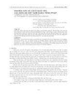 nghiên cứu về cách dịch tên các món ăn Việt Nam sang tiếng Pháp