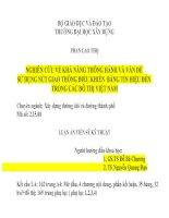 NGHIÊN CỨU VỀ KHẢ NĂNG THÔNG HÀNH VÀ VẤN ĐỀ  SỬ DỤNG NÚT GIAO THÔNG ĐIỀU KHIỂN  BẰNG TÍN HIỆU ĐÈN  TRONG CÁC ĐÔ THỊ VIỆT NAM