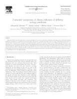 Consumer acceptance of cheese,influence of different testing conditions